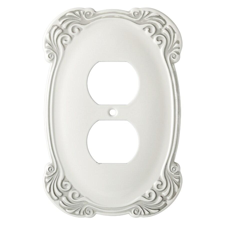 Brainerd 1-Gang White Antique Round Wall Plate