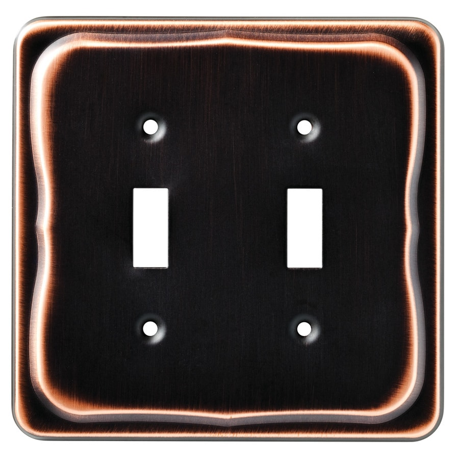Brainerd 2-Gang Bronze with Copper Highlights Toggle Wall Plate