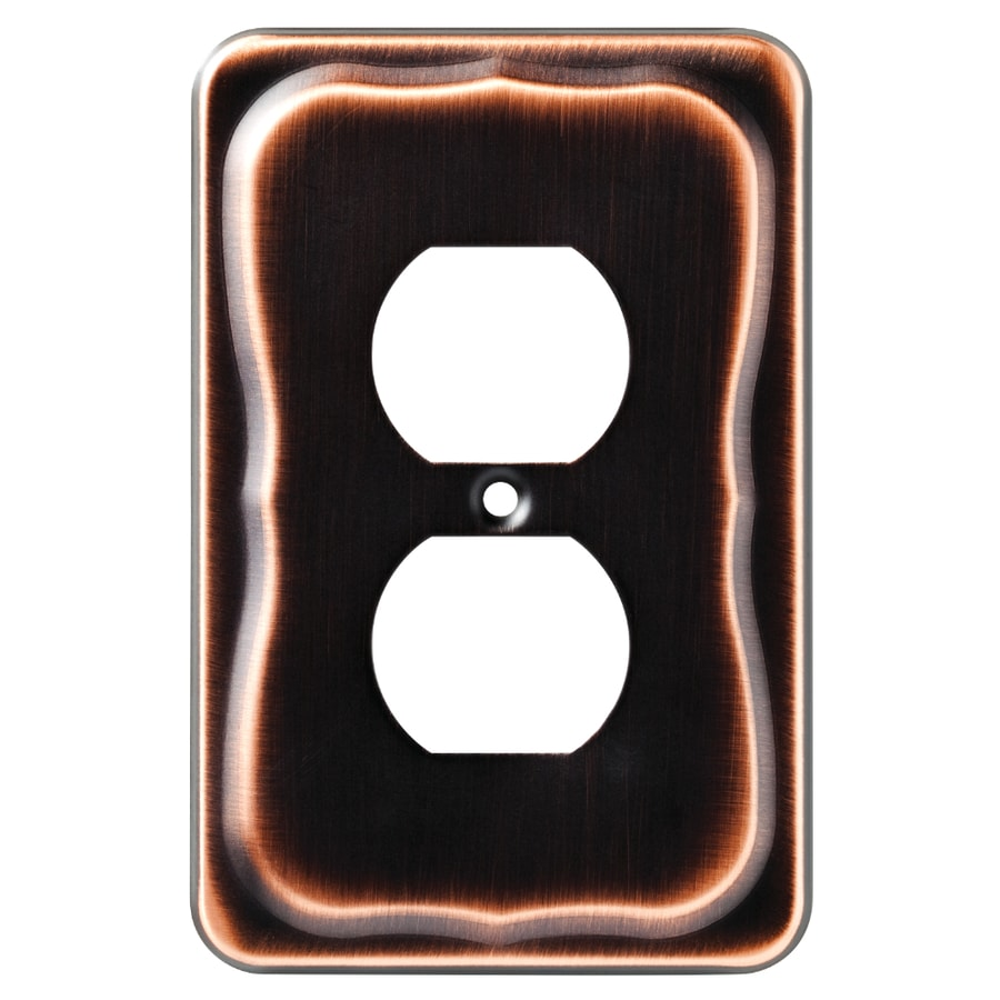 Brainerd 1-Gang Bronze with Copper Highlights Round Wall Plate