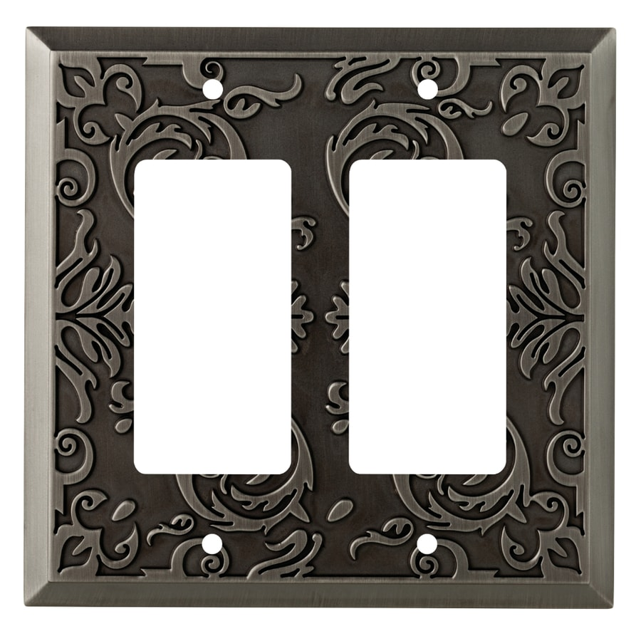 allen + roth Fairhope 2-Gang Heirloom Silver Double Decorator Wall Plate