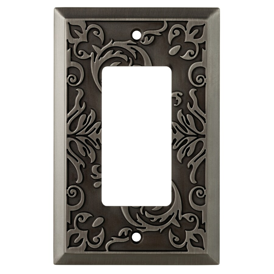 allen + roth Fairhope 1-Gang Antique Pewter Single Decorator Wall Plate