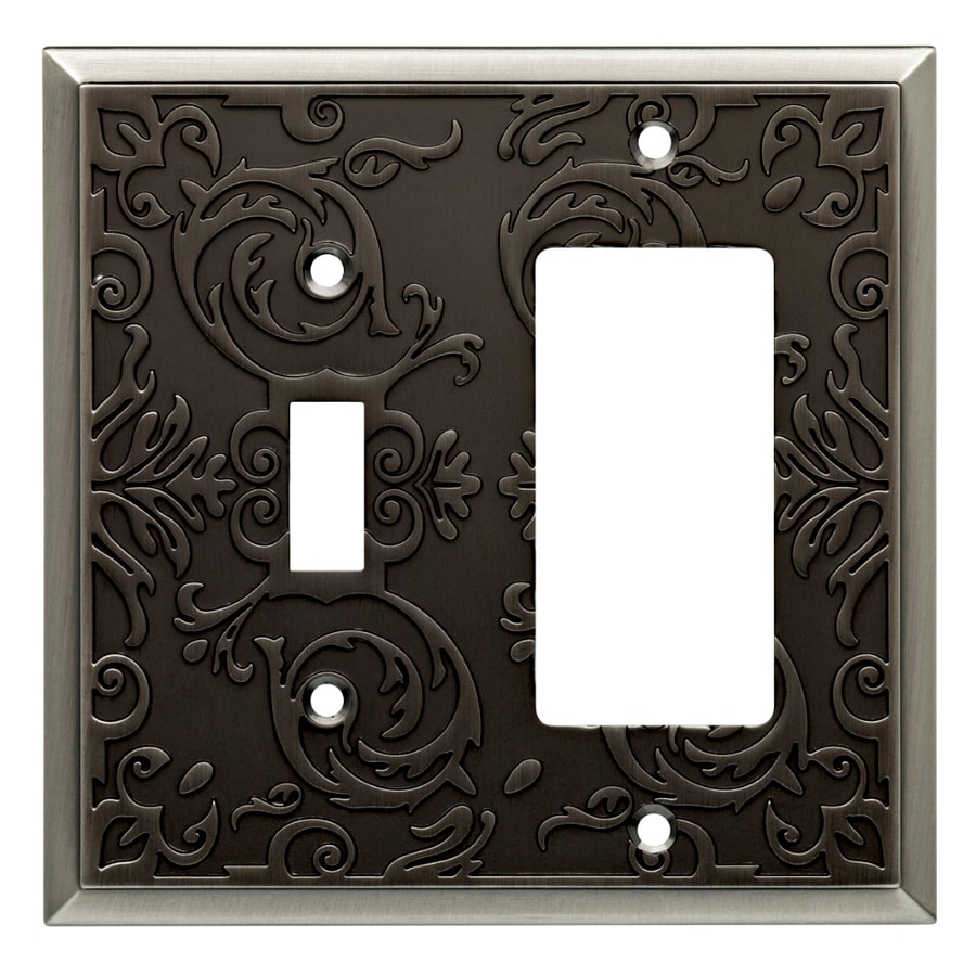 allen + roth Fairhope 2-Gang Brushed Pewter Combination Metal Wall Plate