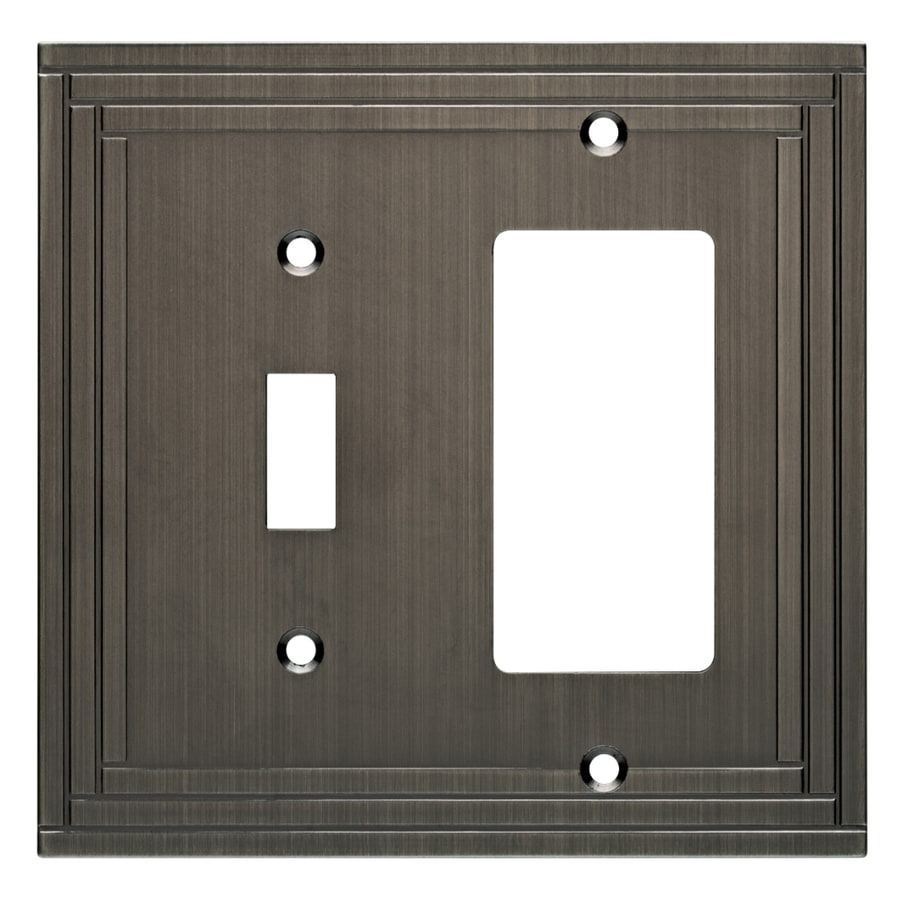 allen + roth Lexington 2-Gang Brushed Nickel Combination Metal Wall Plate