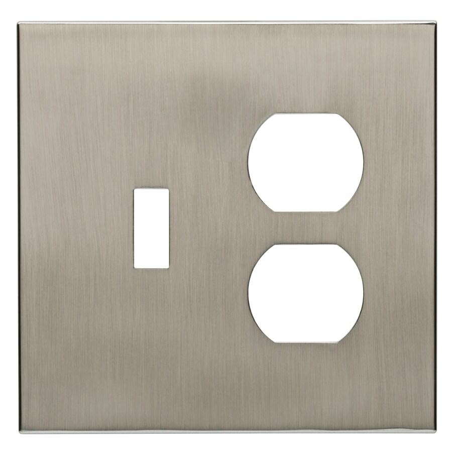 allen + roth Linden 2-Gang Satin Nickel Wall Plate