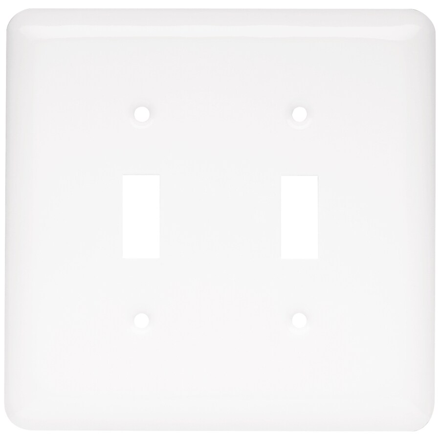 Style Selections Stamped Round 1-Gang White Single Decorator Wall Plate