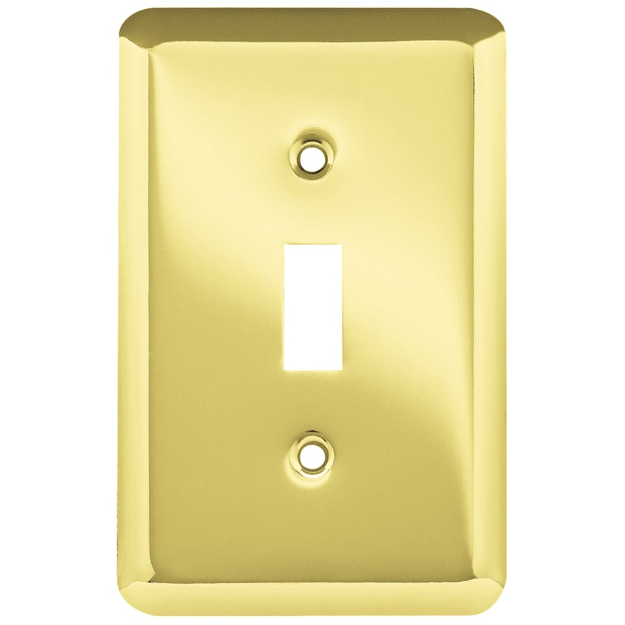 Style Selections Stamped Round 1-Gang Polished Brass Single Toggle Wall Plate