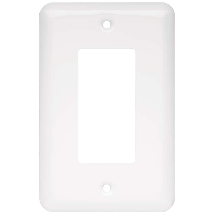 Style Selections Stamped Round 4-Gang White Quad Toggle Wall Plate