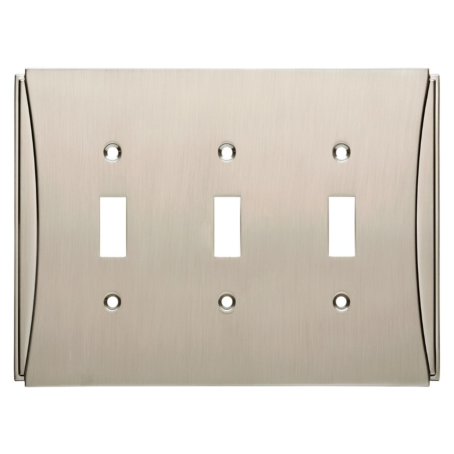 Brainerd Upton 3-Gang Satin Nickel Triple Decorator Wall Plate