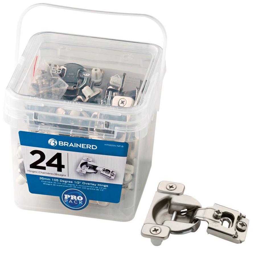 Brainerd 24-Pack 2-3/4-in x 2-1/8-in Nickel Plated Concealed Cabinet Hinges