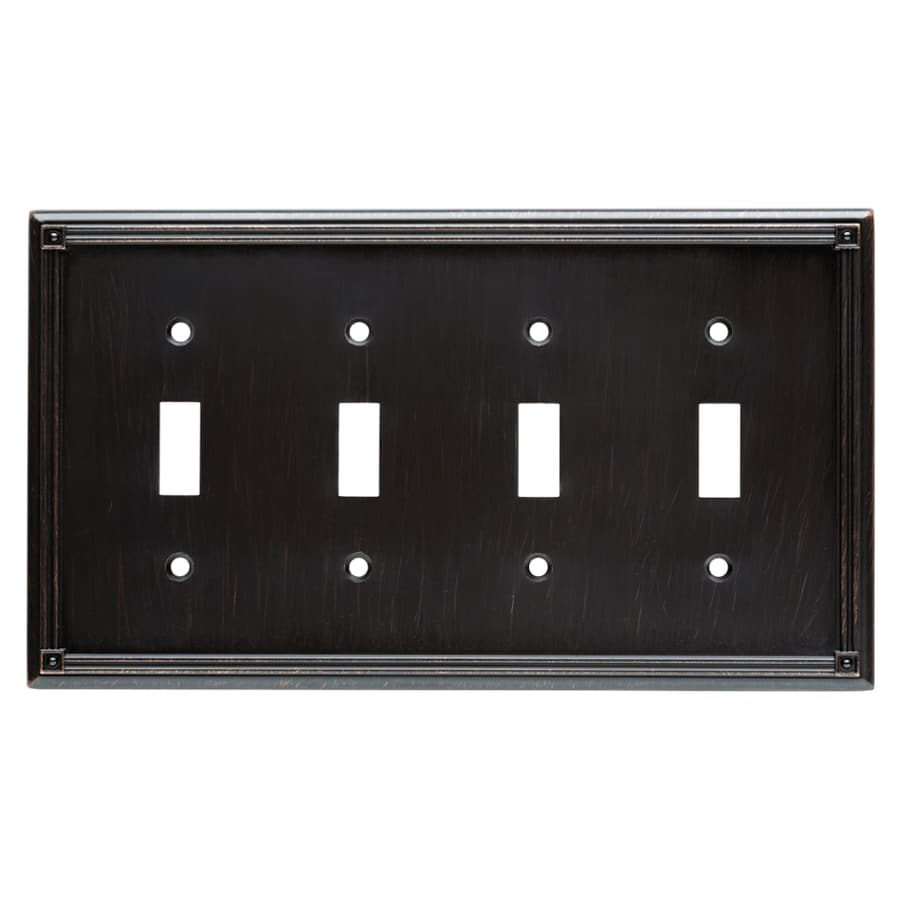 Brainerd Ruston 4-Gang Venetian Bronze Quad Toggle Wall Plate