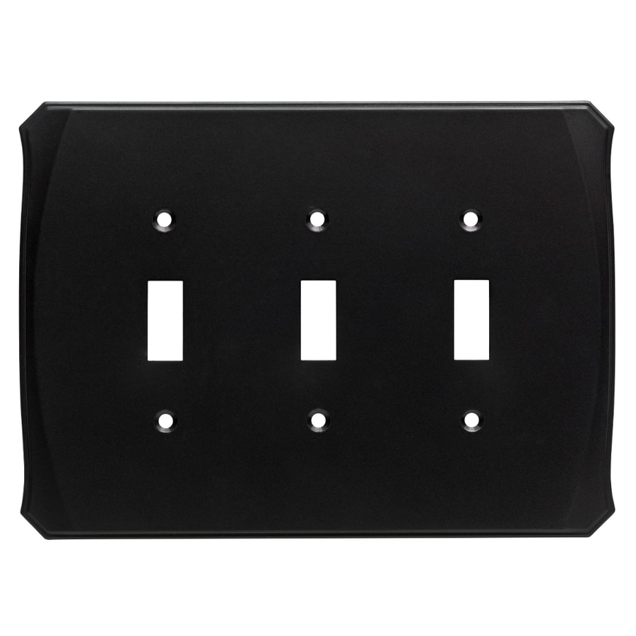 Brainerd Serene 3-Gang Flat Black Triple Toggle Wall Plate