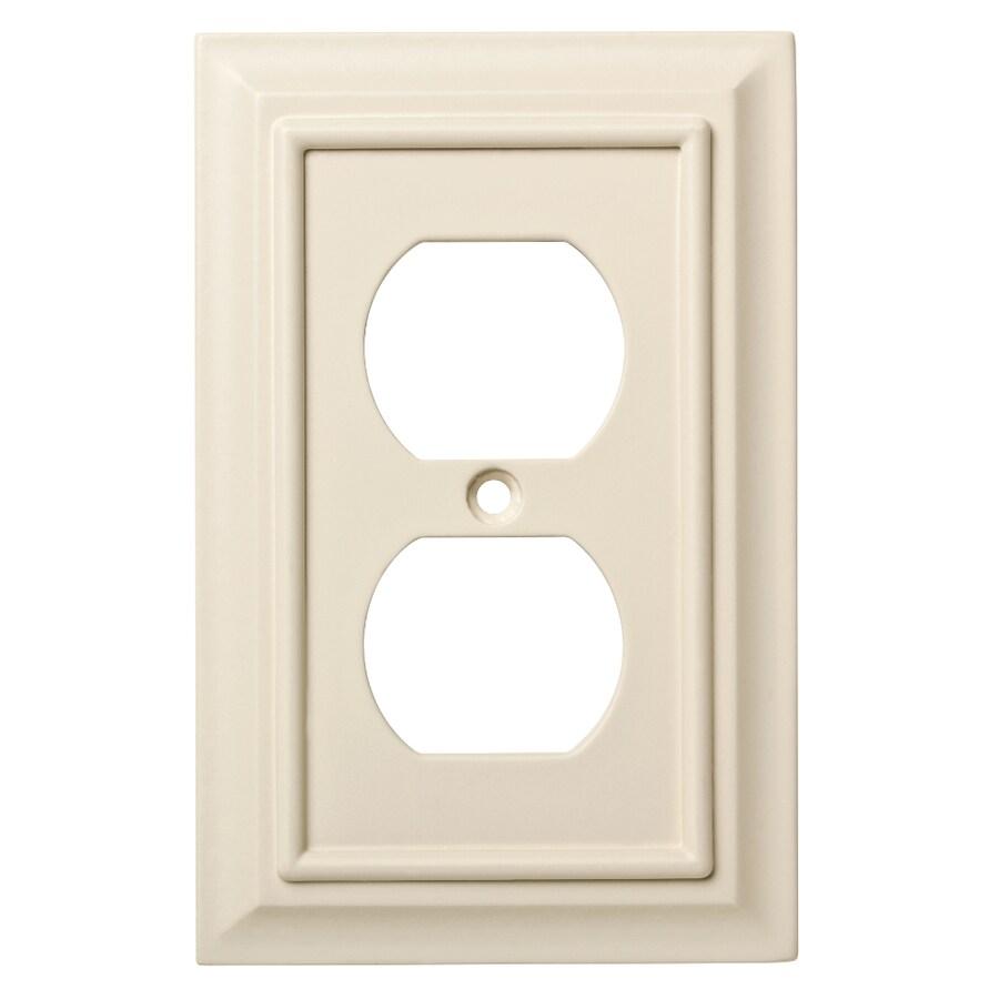 Brainerd Wood Architectural 1-Gang Light Almond Single Duplex Wall Plate