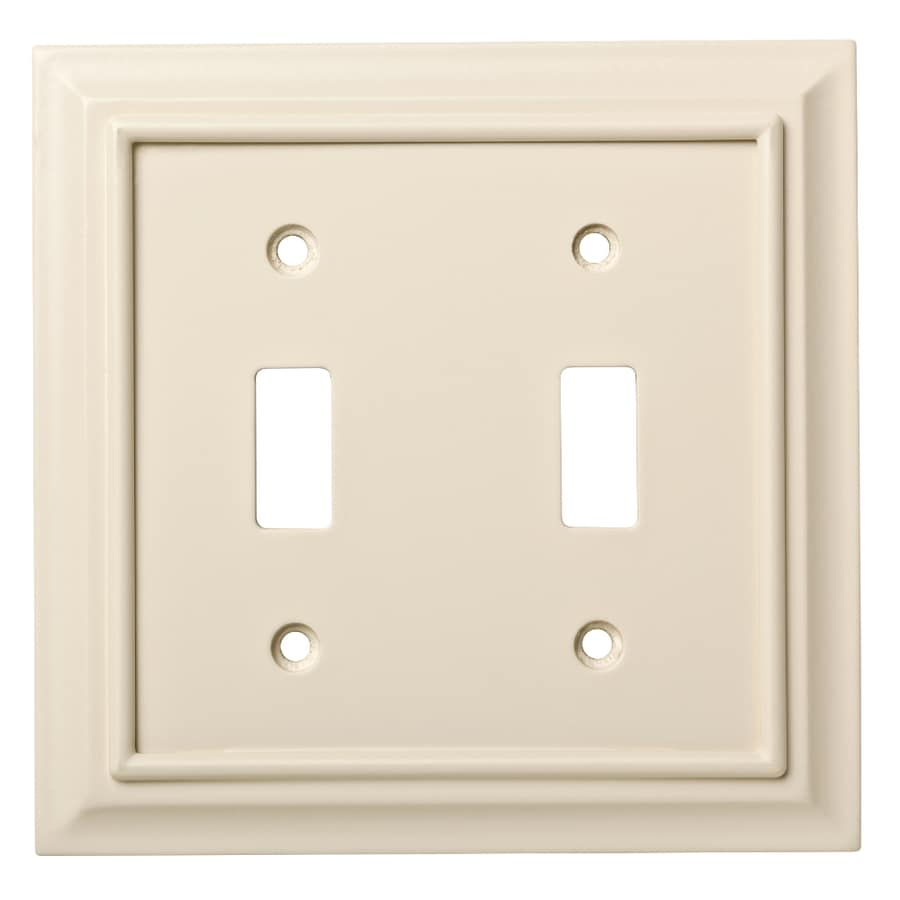 Brainerd Wood Architectural 2-Gang Light Almond Double Toggle Wall Plate