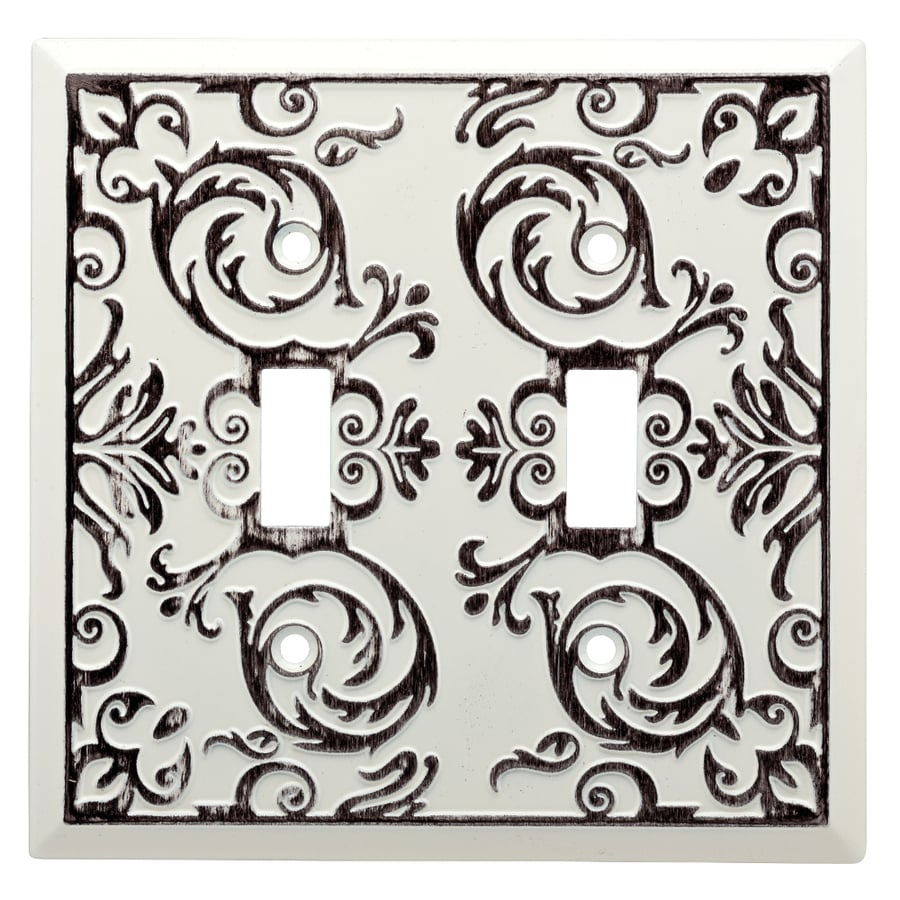 Brainerd Fairhope 2-Gang White Wash Double Toggle Wall Plate