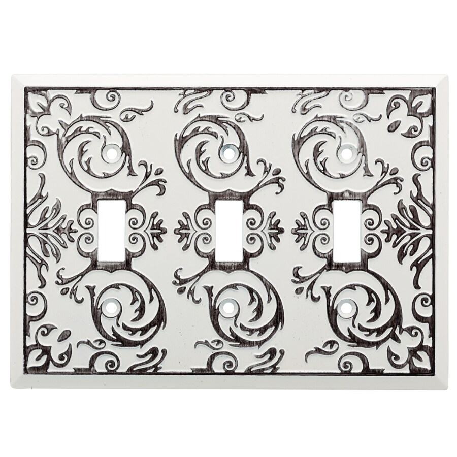Brainerd Fairhope 3-Gang White Wash Triple Toggle Wall Plate