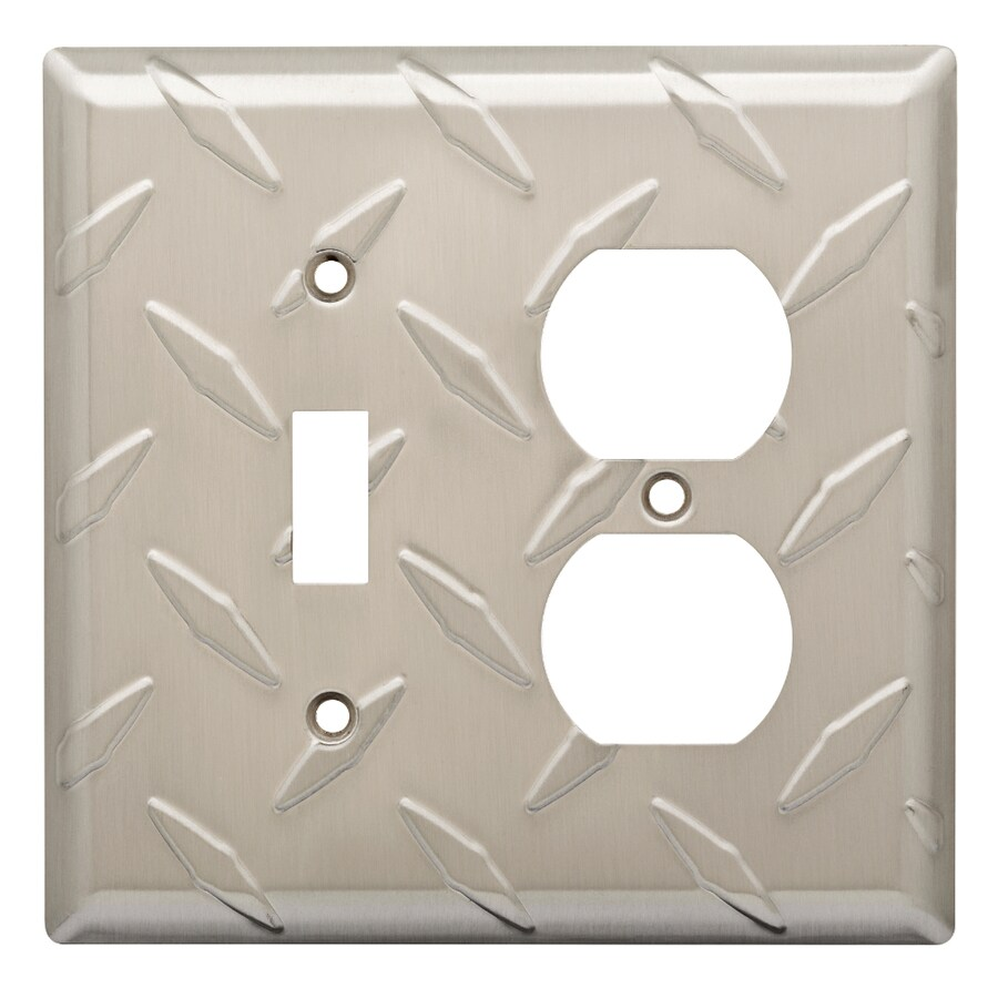 Brainerd Diamond Plate 2-Gang Satin Nickel Electoplating Wall Plate