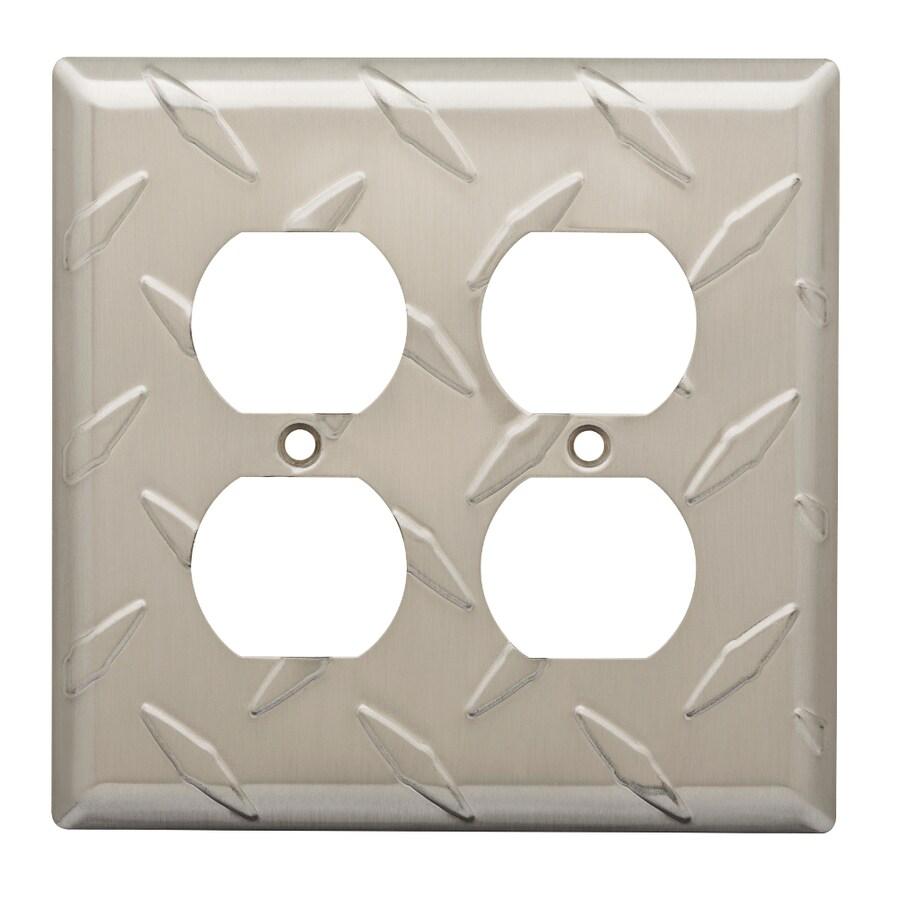 Brainerd Diamond Plate 2-Gang Satin Nickel Double Duplex Wall Plate