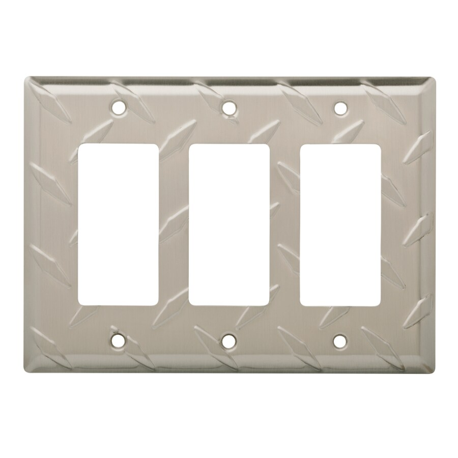 Brainerd Diamond Plate 3-Gang Satin Nickel Triple Decorator Wall Plate