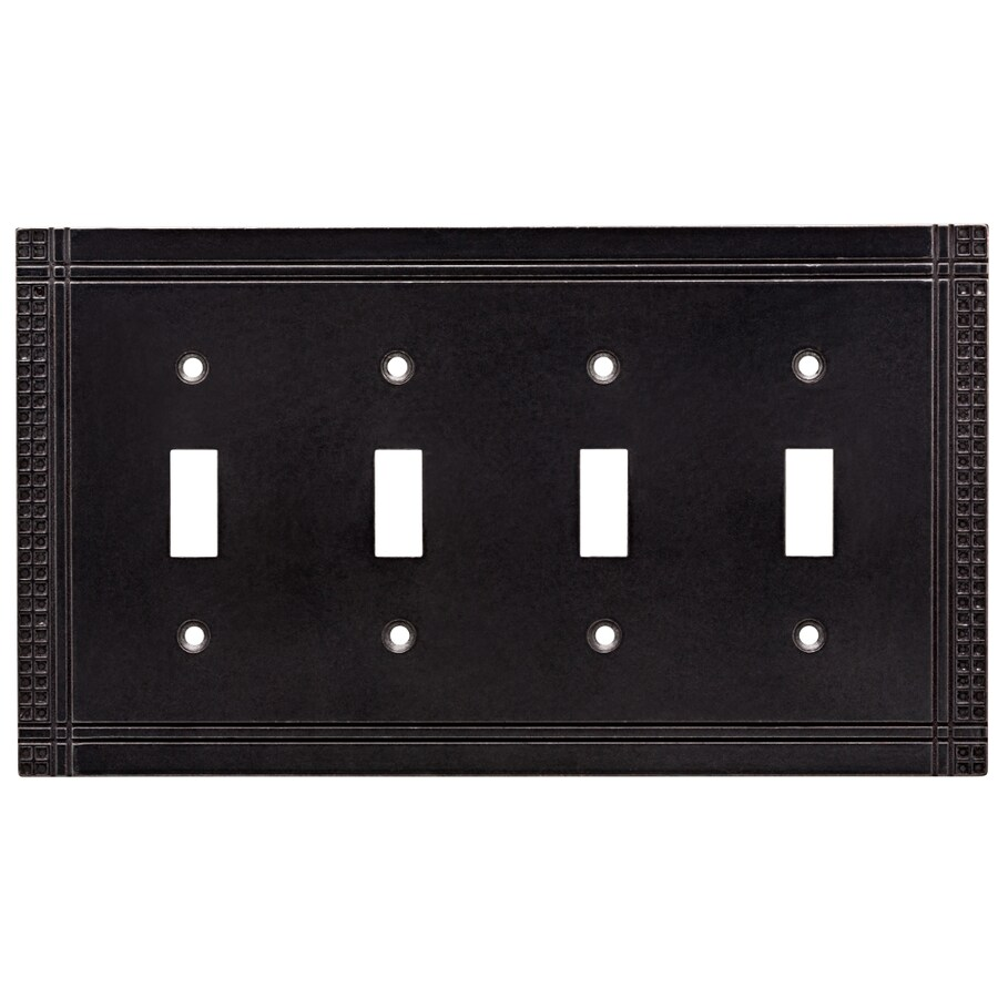 Brainerd Mission 4-Gang Soft Iron Quad Toggle Wall Plate