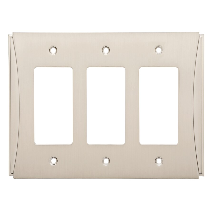 Brainerd Upton 3-Gang Satin Nickel Triple Decorator Wall Plate