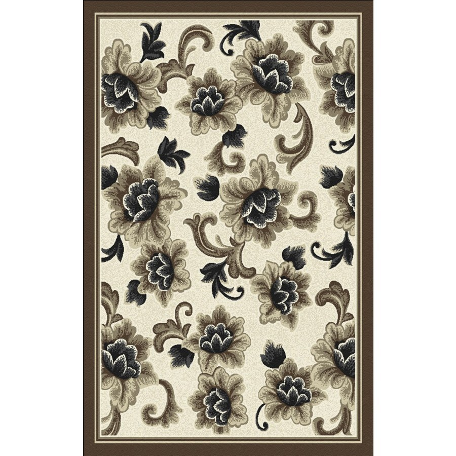 Regence Home Winchester 39-in x 55-in Rectangular Beige Floral Accent Rug