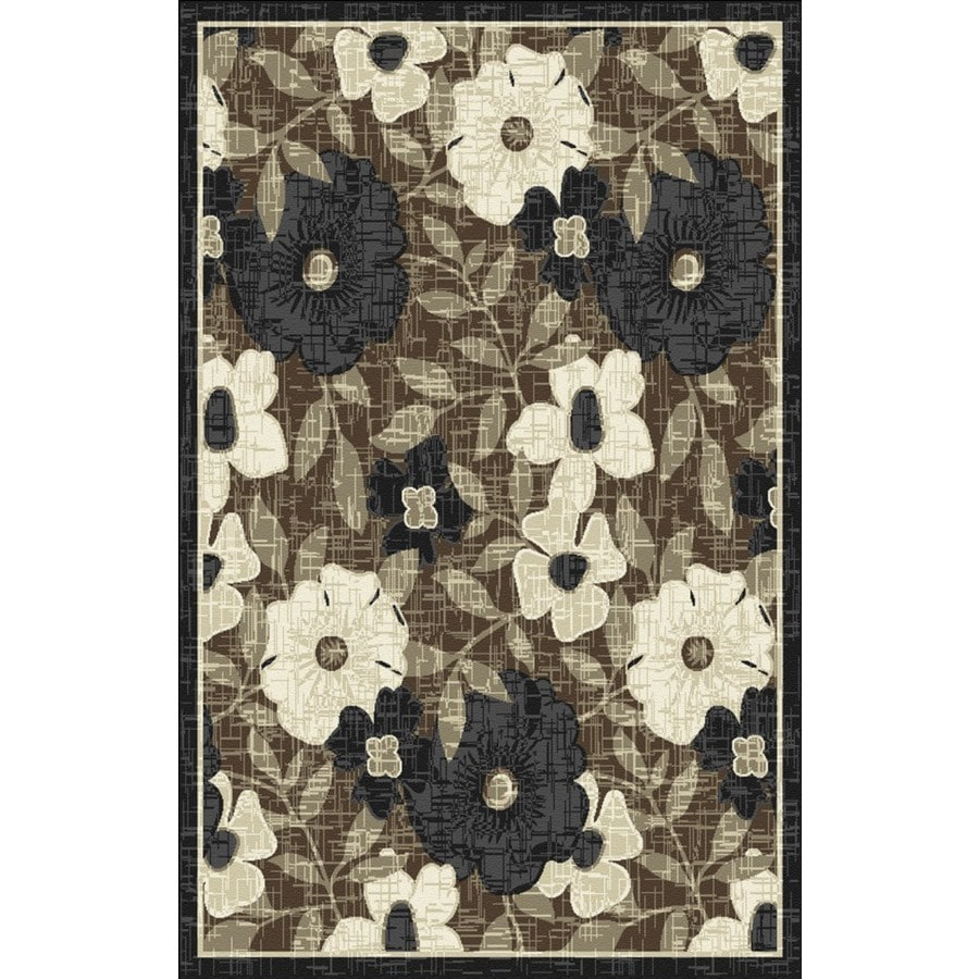 Regence Home Winchester Rectangular Brown Floral Woven Accent Rug (Common: 3-ft x 5-ft; Actual: 39-in x 55-in)