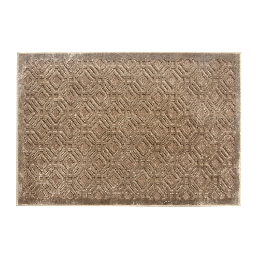 Shop allen roth lindstal chocolate rectangular indoor for Common throw rug sizes