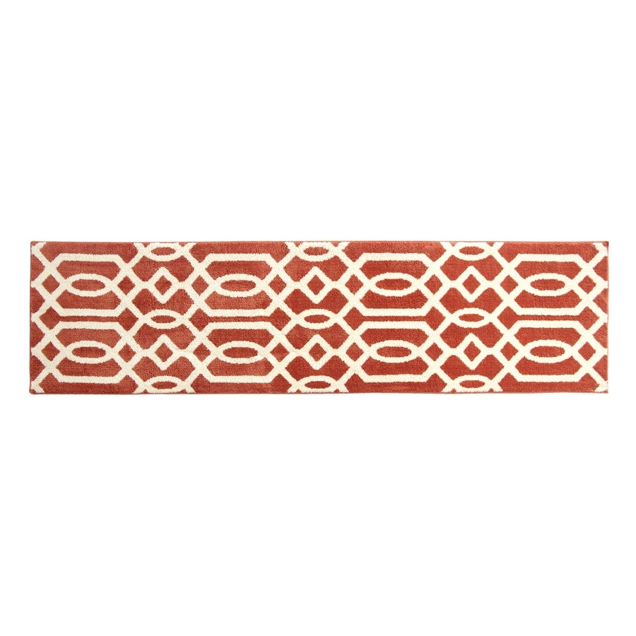 allen + roth Kentby Orange and White Rectangular Indoor Machine-Made Runner (Common: 2 x 8; Actual: 22.5-in W x 90-in L)