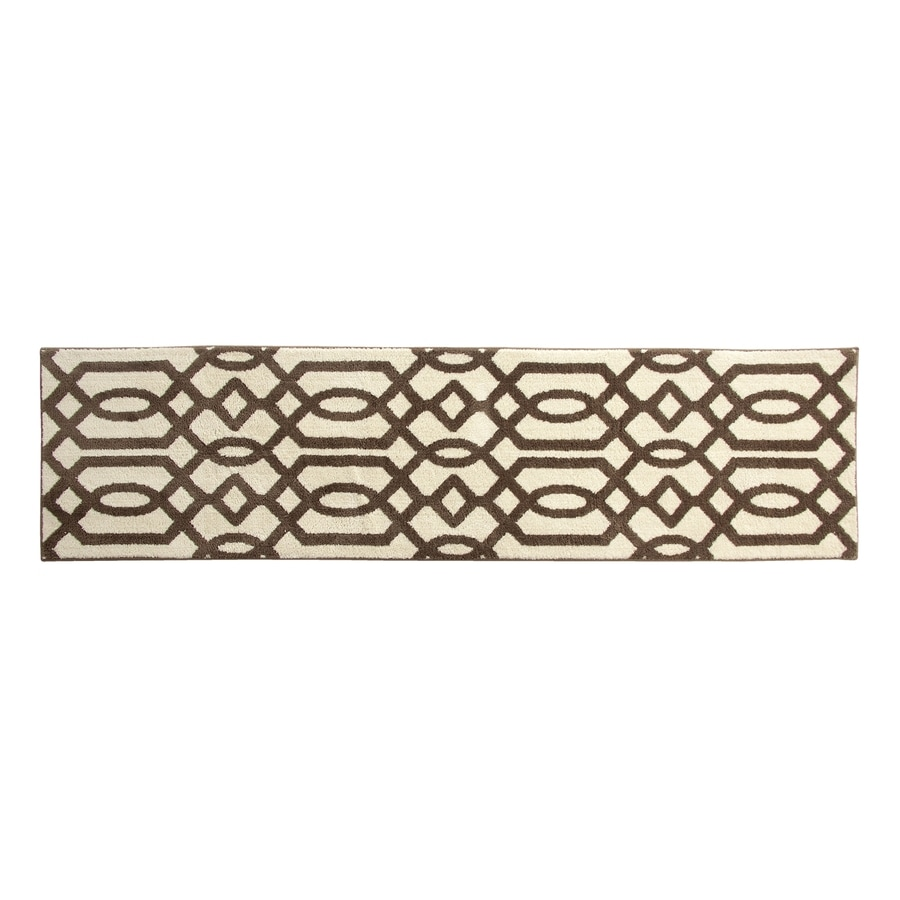 allen + roth Kentby White and Mocha Rectangular Indoor Machine-Made Runner (Common: 2 x 8; Actual: 22.5-in W x 90-in L)