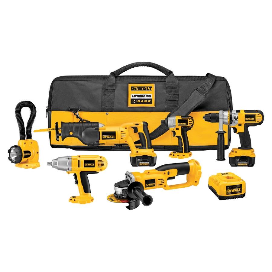 DEWALT 6-Tool 18-Volt Lithium Ion (Li-Ion) Motor Cordless Combo Kit with Soft Case