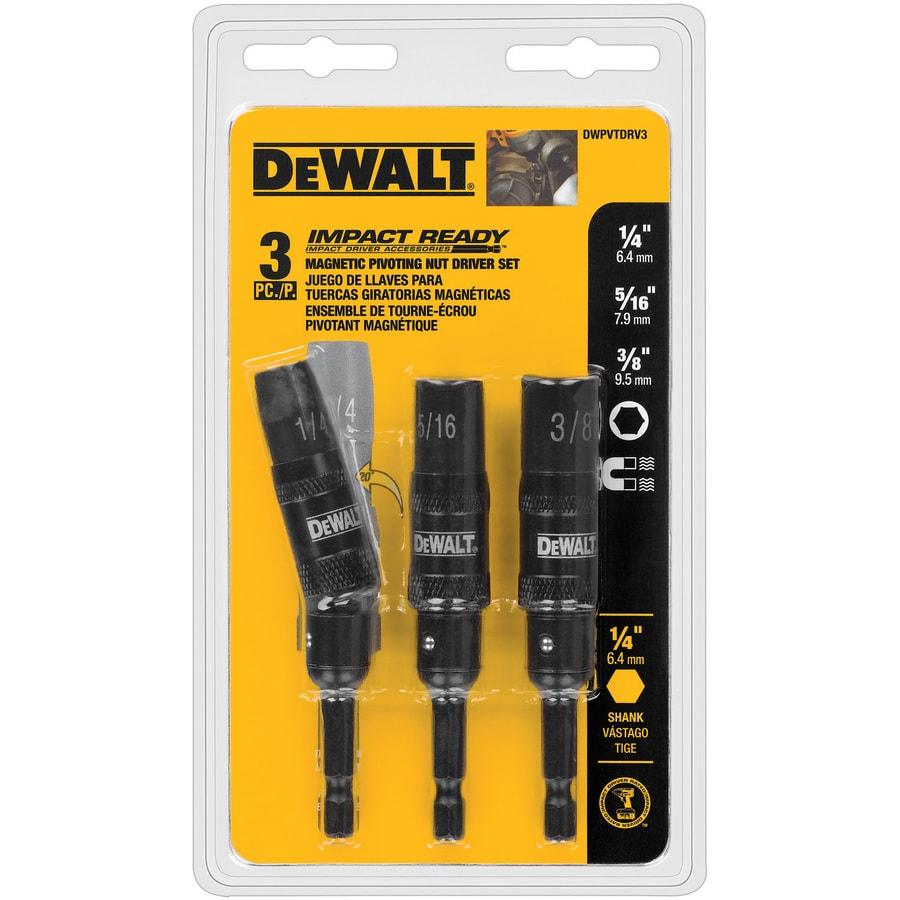 DEWALT #DWPVTDRV3  3 PIECE MAGNETIC PIVOTING NUT DRIVER SET IMPACT READY