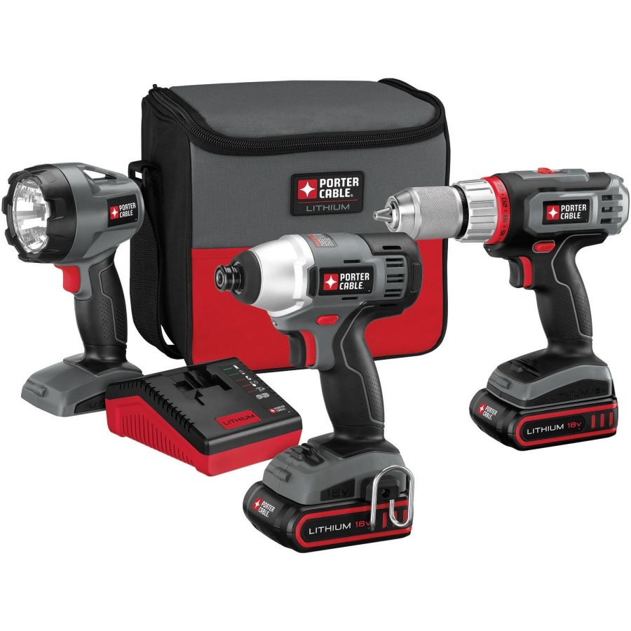 PORTER-CABLE 3-Tool 18-Volt Lithium Ion Cordless Combo Kit with Soft Case