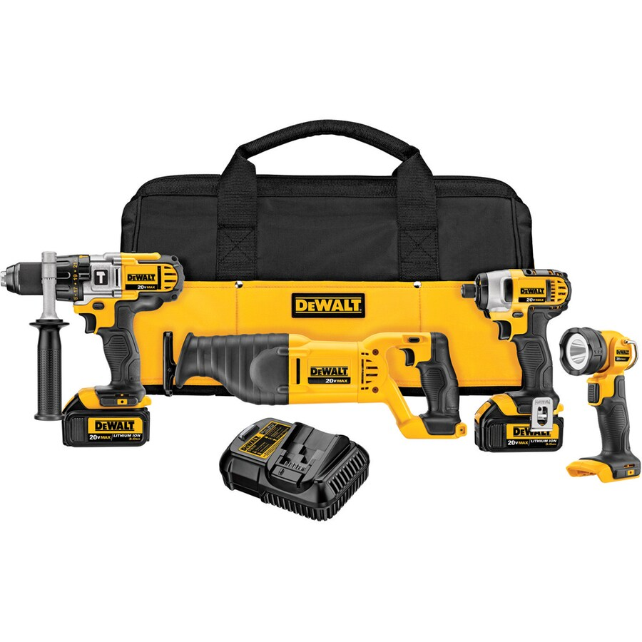 DEWALT 4-Tool 20-Volt Lithium Ion (Li-Ion) Motor Cordless Combo Kit with Soft Case
