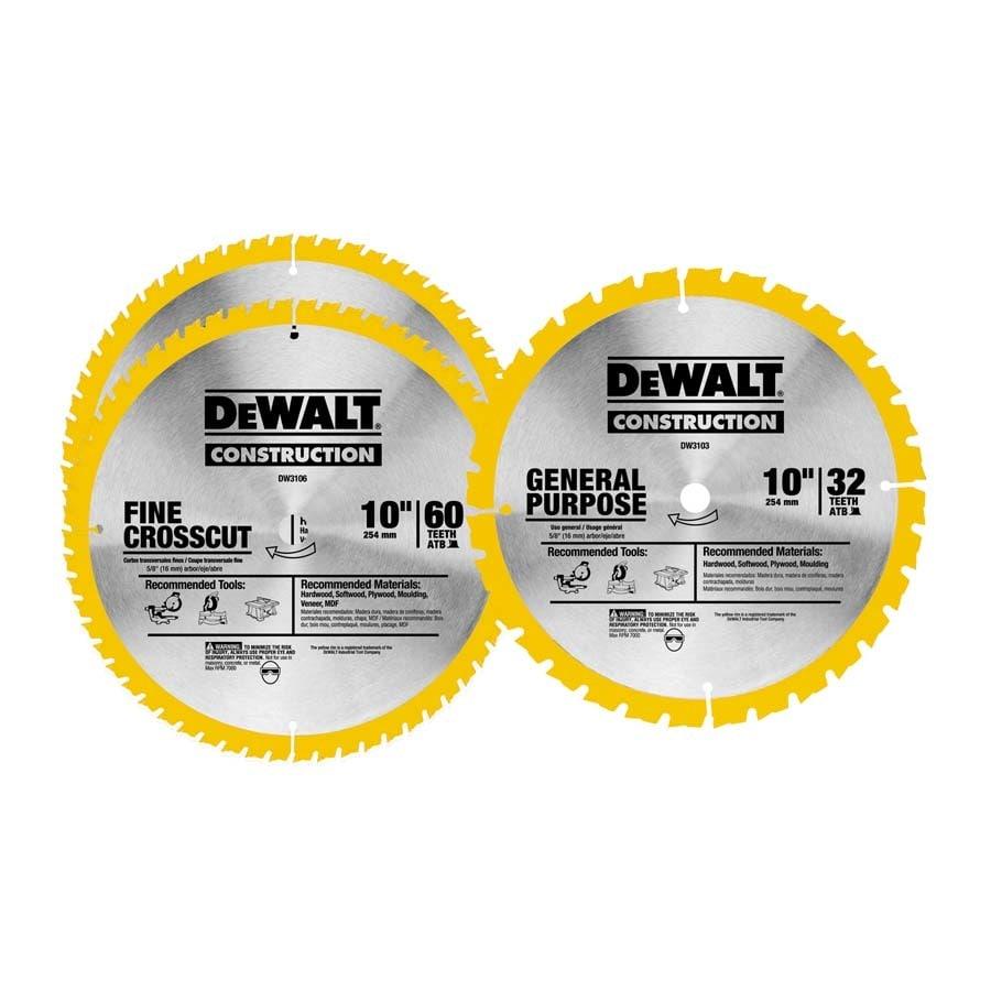 DEWALT 3-Pack 10-in Circular Saw Blade Set