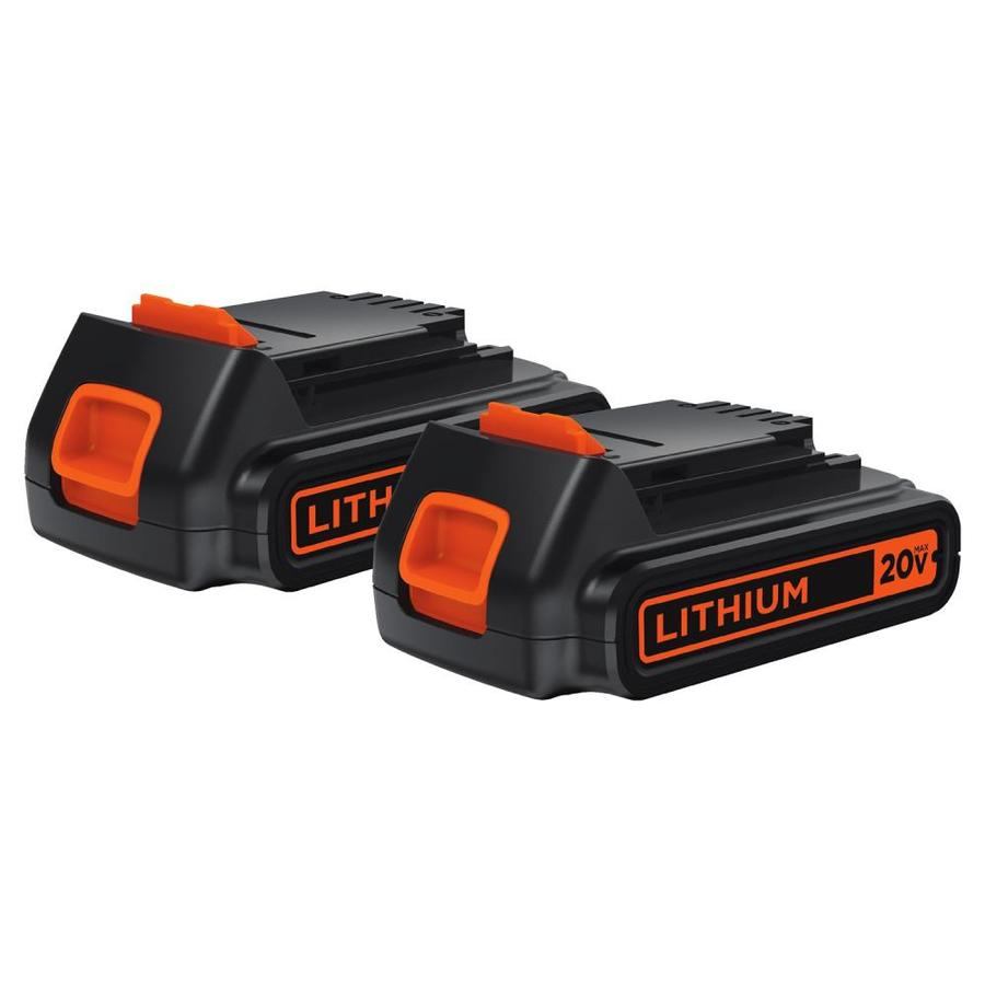 BLACK & DECKER 2-Pack 20-Volt Max Rechargeable Lithium Ion (Li-Ion) Cordless Power Equipment Battery