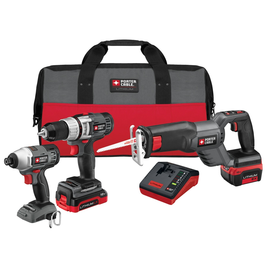 PORTER-CABLE 3-Tool 18-Volt Lithium Ion (Li-Ion) Brushed Motor Cordless Combo Kit with Soft Case