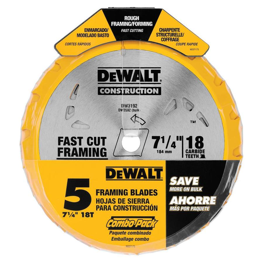 DEWALT 7-1/4-In 18T Carbide Thin Kerf Circular Saw Blade (Bulk 5 Pack) Circular Saw Blade Set