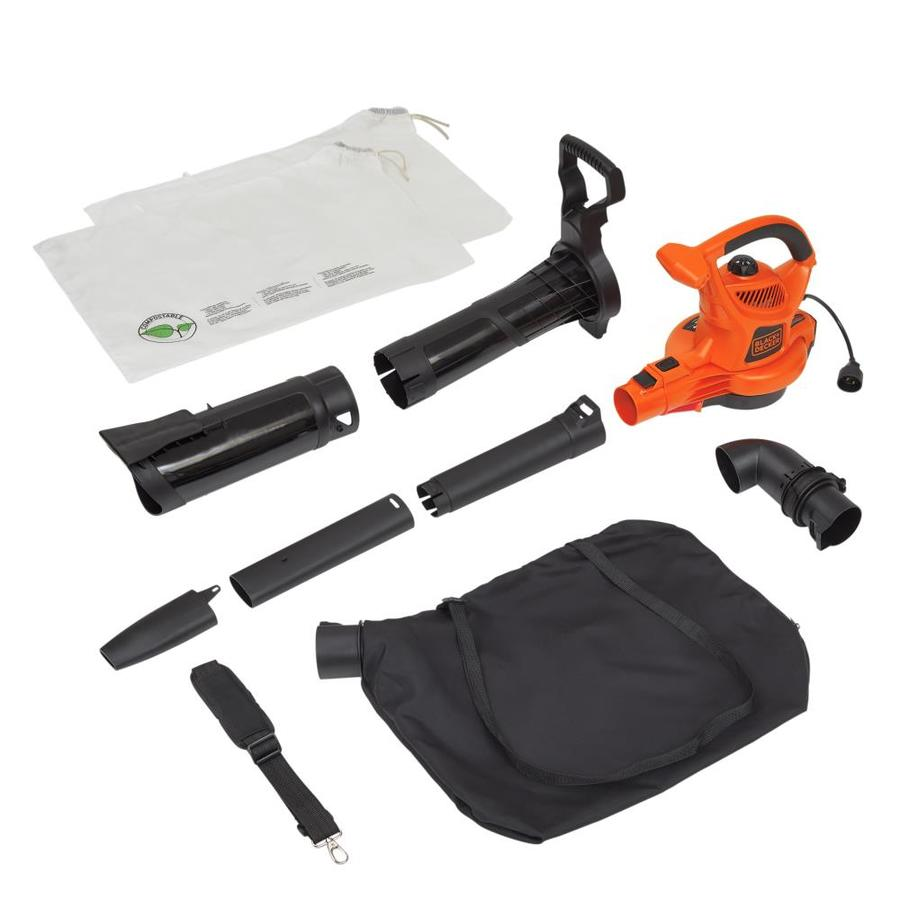 BLACK & DECKER 12-Amp 400-CFM 250-MPH Heavy-Duty Corded Electric Leaf Blower with Vacuum Kit