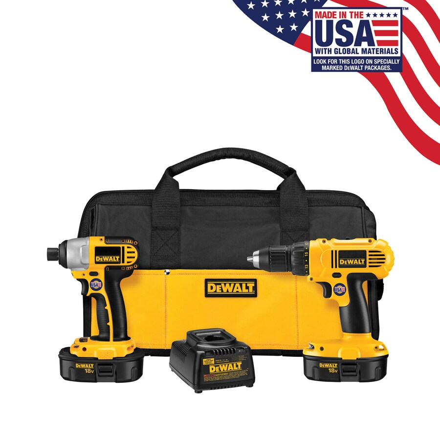 DEWALT 2-Tool 18-Volt Lithium Ion (Li-ion) Brushed Motor Cordless Combo Kit with Soft Case