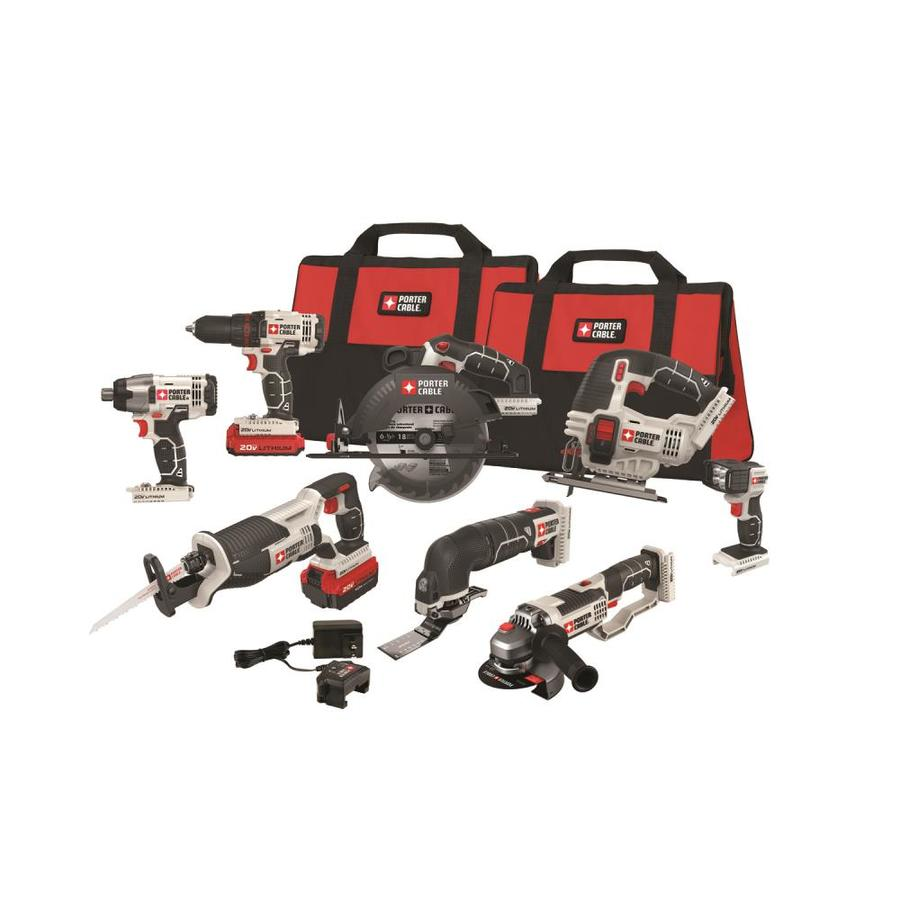 PORTER-CABLE 8-Tool 20-Volt Max Lithium Ion (Li-ion) Cordless Combo Kit with Soft Case