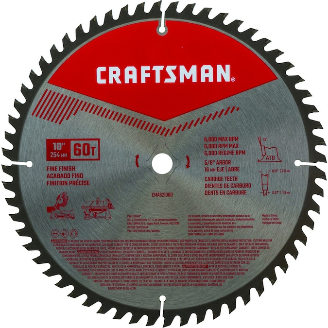 Craftsman 10 In 60 Tooth Carbide Miter Table Saw Blade In The Circular Saw Blades Department At Lowes Com
