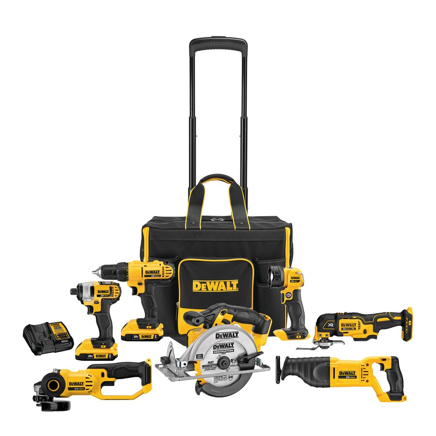 Dewalt 7 Tool 20 Volt Max Power Tool Combo Kit With Soft Rolling Case Charger Included And 2 Batteries Included In The Power Tool Combo Kits Department At Lowes Com