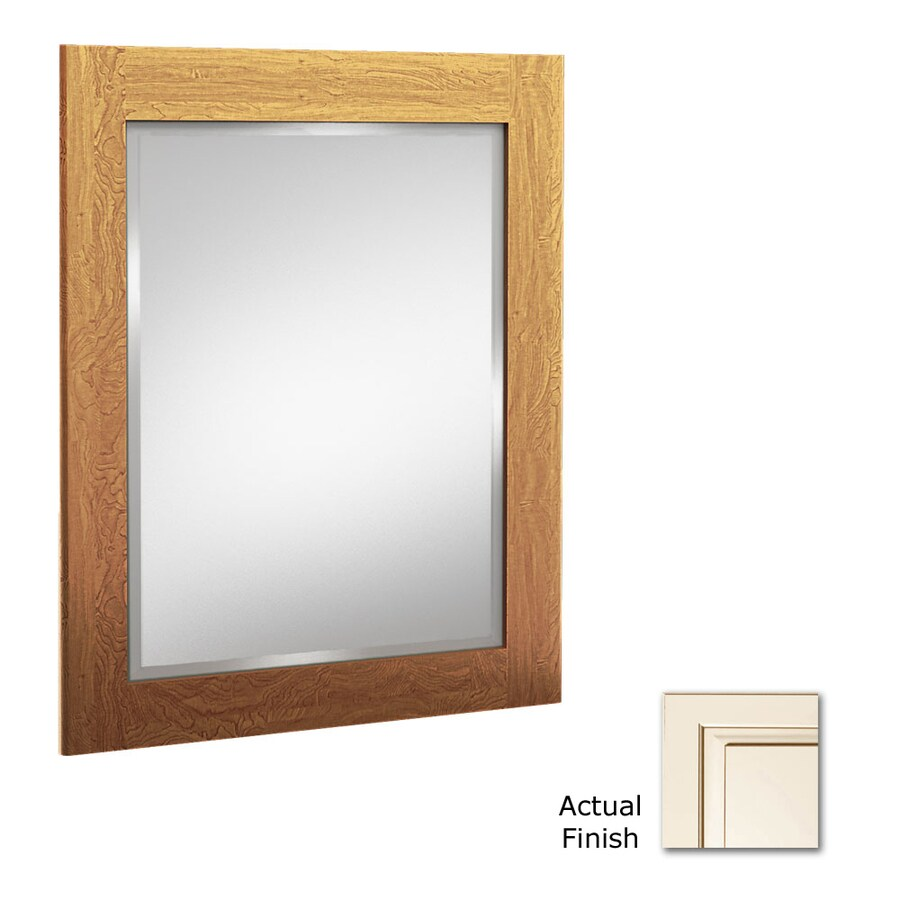 KraftMaid 21-in W x 30-in H Canvas with Cocoa Glaze Rectangular Bathroom Mirror