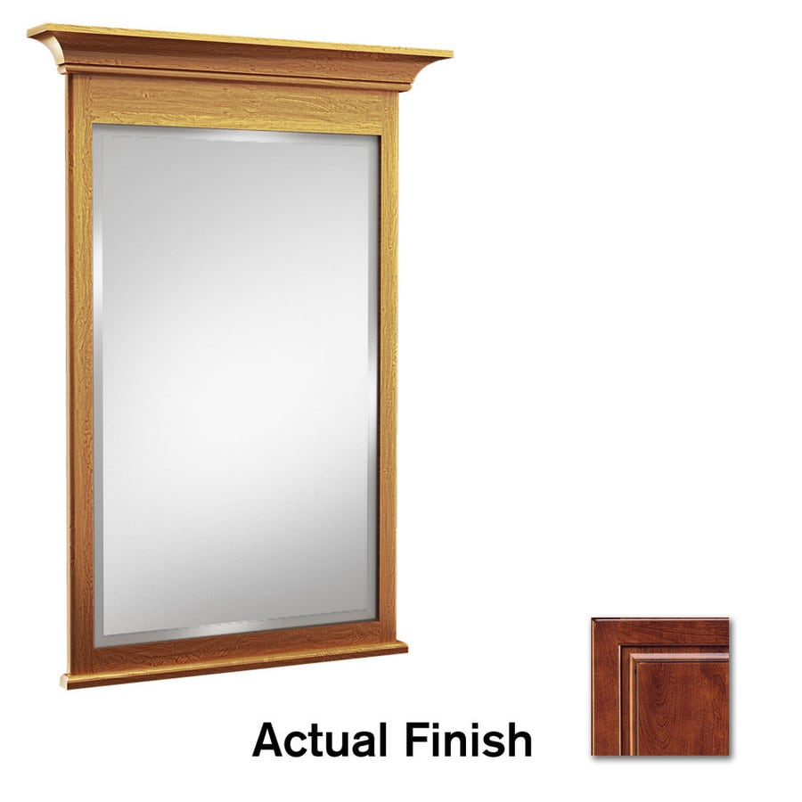 KraftMaid 42-in W x 36-in H Antique Chocolate with Mocha Glaze Rectangular Bathroom Mirror