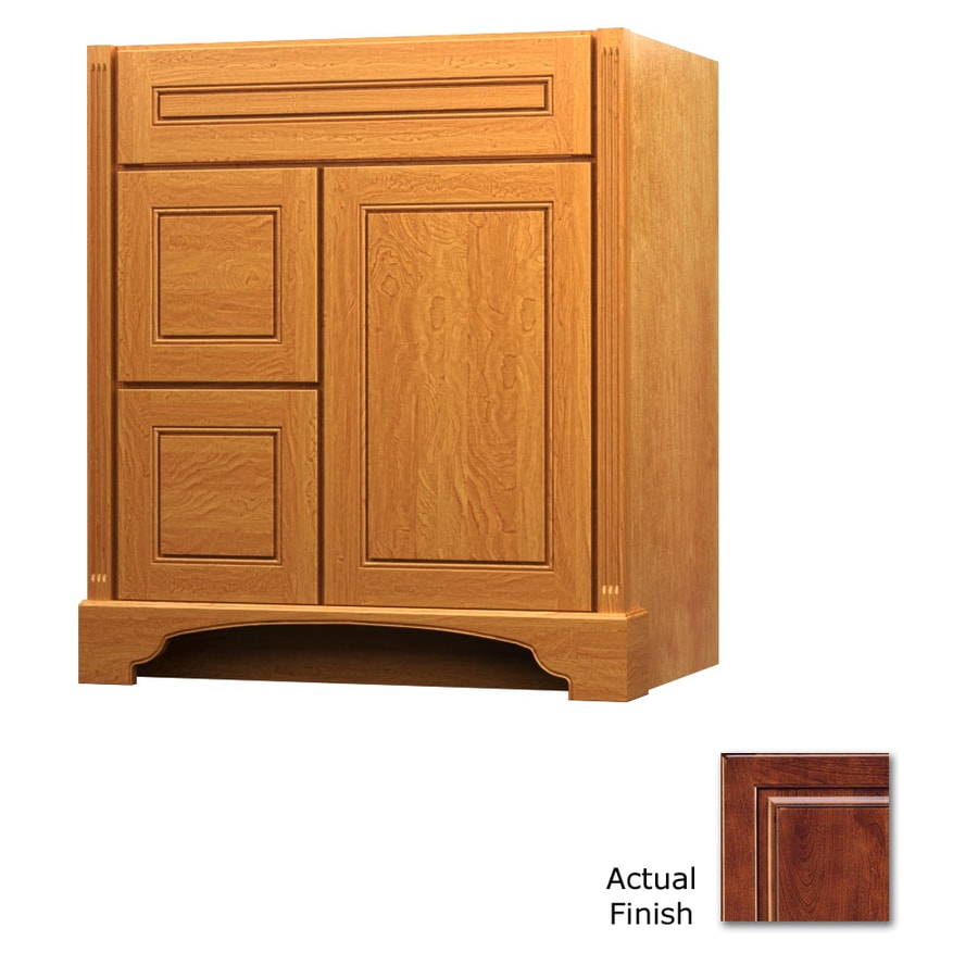 KraftMaid Savoy Provence Antique Chocolate with Mocha Glaze Traditional Bathroom Vanity (Common: 30-in x 18-in; Actual: 30-in x 18-in)