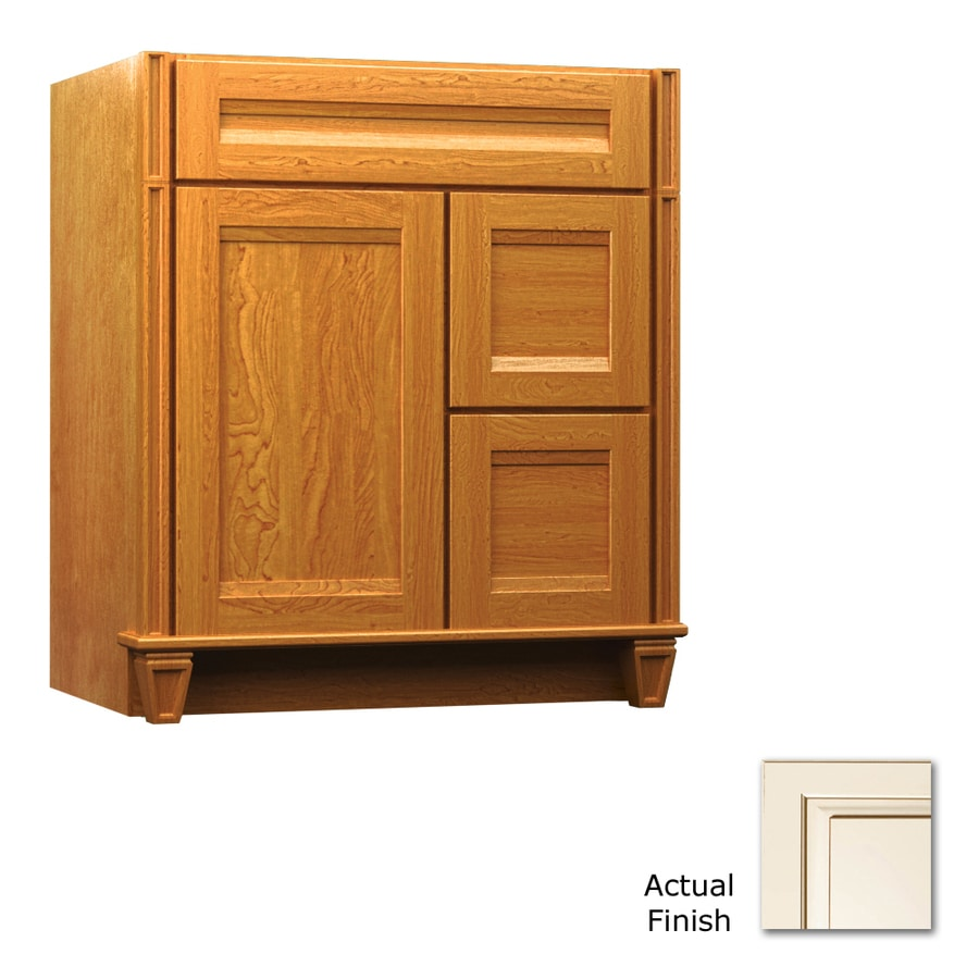 KraftMaid Key Biscayne Sonata Canvas with Cocoa Glaze Traditional Bathroom Vanity (Common: 30-in x 18-in; Actual: 30-in x 18-in)