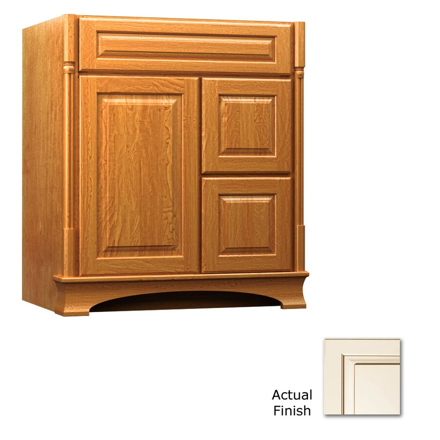 KraftMaid Chambord Montclair Canvas with Cocoa Glaze Traditional Bathroom Vanity (Common: 30-in x 18-in; Actual: 30-in x 18-in)