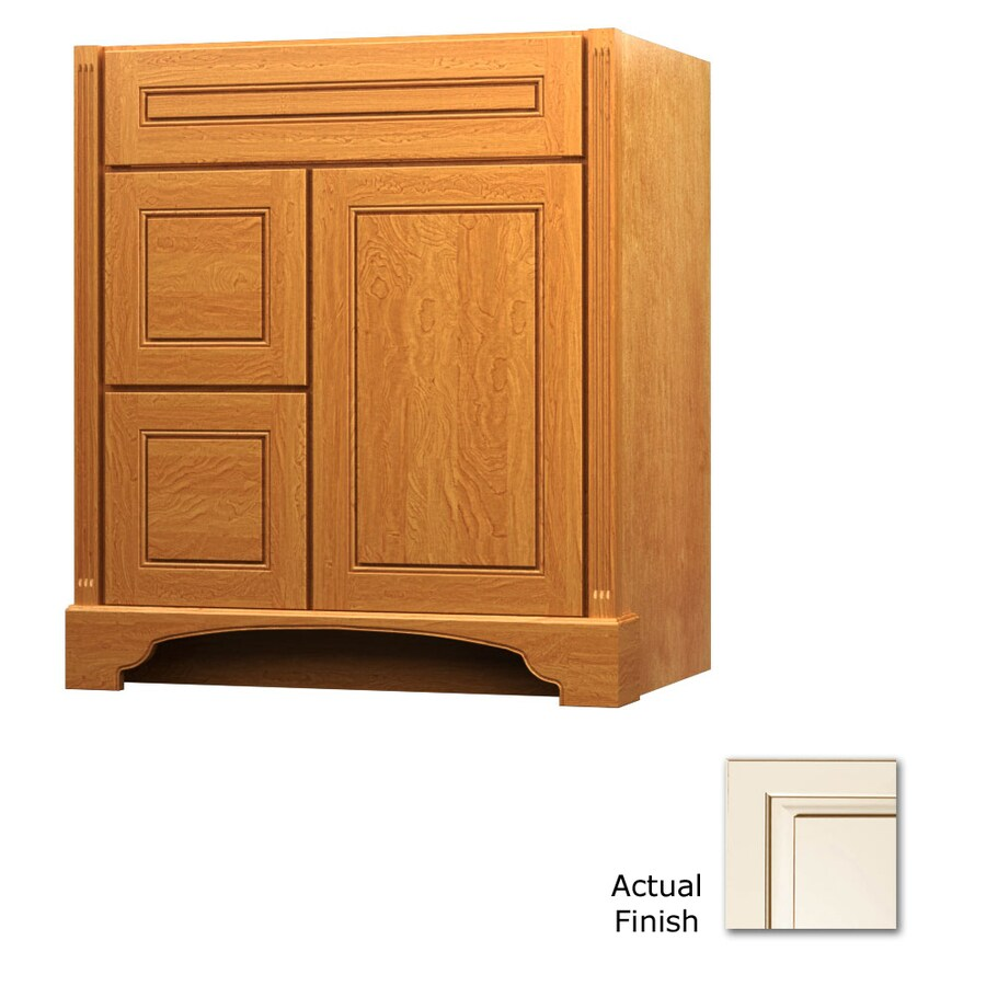 KraftMaid Savoy Provence Canvas with Cocoa Glaze Traditional Bathroom Vanity (Common: 30-in x 21-in; Actual: 30-in x 21-in)