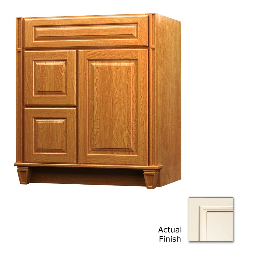 KraftMaid Key Biscayne Montclair Canvas with Cocoa Glaze Traditional Bathroom Vanity (Common: 30-in x 21-in; Actual: 30-in x 21-in)