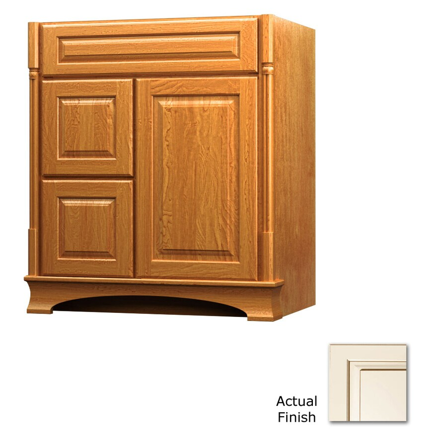 KraftMaid Chambord Montclair Canvas with Cocoa Glaze Traditional Bathroom Vanity (Common: 30-in x 21-in; Actual: 30-in x 21-in)